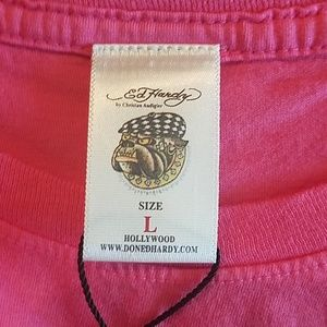 """Ed Hardy Tops - Ed Hardy """"Eternal Love"""" pink fitted tee"""